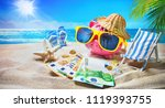 piggy bank with sunglasses... | Shutterstock . vector #1119393755