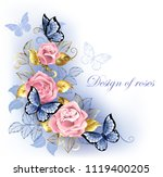three pink roses with blue and... | Shutterstock .eps vector #1119400205