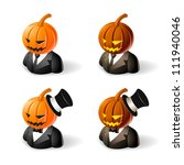 Halloween concept : pumpkin head icons - stock vector