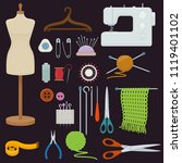 set of tools for needlework and ... | Shutterstock .eps vector #1119401102