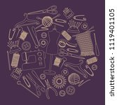 set of tools for needlework and ... | Shutterstock .eps vector #1119401105