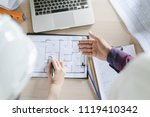 top view of architect  ... | Shutterstock . vector #1119410342