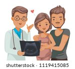 pregnant couple doctor. doctor... | Shutterstock .eps vector #1119415085