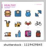 healthy icon set   Shutterstock .eps vector #1119429845