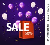 purple balloons sale vector... | Shutterstock .eps vector #1119446738