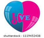 two colored heart puzzle.vector | Shutterstock .eps vector #1119452438