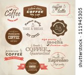 retro styled coffee labels.... | Shutterstock .eps vector #111945305