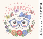 cute cat face with floral... | Shutterstock .eps vector #1119494288