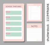 school timetable with notes... | Shutterstock .eps vector #1119496646