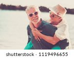 senior beautiful couple outdoor ... | Shutterstock . vector #1119496655