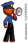 orange police man shouting into ... | Shutterstock . vector #1119503912