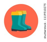 Rubber Boots Flat Icon Isolate...