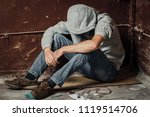 a man is a drug addict with a... | Shutterstock . vector #1119514706