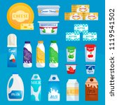 dairy products. milk and yogurt ... | Shutterstock .eps vector #1119541502