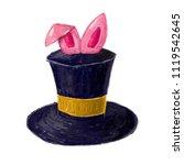 magic trick rabbit in black hat ... | Shutterstock . vector #1119542645