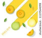 fresh melon fruit background in ... | Shutterstock .eps vector #1119564098