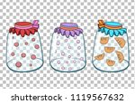 three glass jars with juice... | Shutterstock .eps vector #1119567632