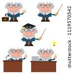 professor or scientist cartoon... | Shutterstock . vector #1119570542