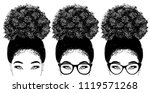 woman with curly hair and... | Shutterstock .eps vector #1119571268