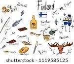 hand drawn vector doodle... | Shutterstock .eps vector #1119585125
