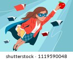 young woman in cape and mask... | Shutterstock .eps vector #1119590048