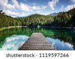 landing stage at a lake in the...   Shutterstock . vector #1119597266