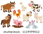 set of isolated farm animals | Shutterstock .eps vector #1119599012