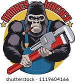 monkey with wrench | Shutterstock .eps vector #1119604166