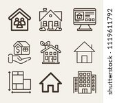 set of 9 home outline icons... | Shutterstock .eps vector #1119611792