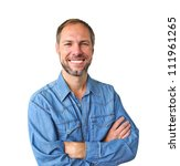 smiling man in denim shirt... | Shutterstock . vector #111961265