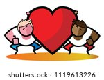 gay couple in love with big red ... | Shutterstock .eps vector #1119613226