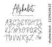 hand drawn vector alphabet.... | Shutterstock .eps vector #1119614615