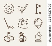 set of 9 sports outline icons... | Shutterstock .eps vector #1119627602