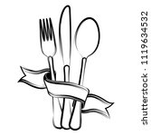 ribbon  spoon  knife and fork... | Shutterstock . vector #1119634532