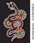 vector snake and flowers...   Shutterstock .eps vector #1119635822