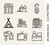 set of 9 holidays outline icons ... | Shutterstock .eps vector #1119637802