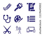 set of 9 tool filled icons such ... | Shutterstock .eps vector #1119645002