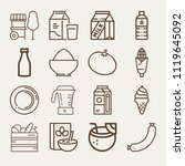 set of 16 food outline icons... | Shutterstock .eps vector #1119645092