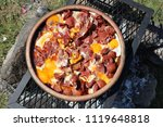 fried egg with sausage and... | Shutterstock . vector #1119648818