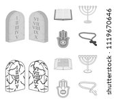 bible  menorah  hamsa  orthodox ... | Shutterstock .eps vector #1119670646