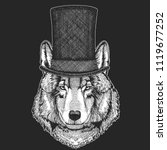 wolf  dog. top hat  cylinder.... | Shutterstock .eps vector #1119677252