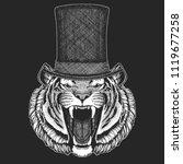 tiger. top hat  cylinder.... | Shutterstock .eps vector #1119677258