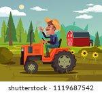 happy smiling farmer driver...   Shutterstock .eps vector #1119687542