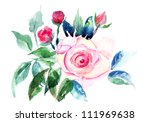 decorative roses flowers ... | Shutterstock . vector #111969638