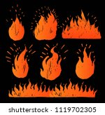 set of hand drawn flames. vector | Shutterstock .eps vector #1119702305