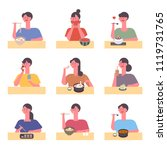 characters eating various food. ... | Shutterstock .eps vector #1119731765