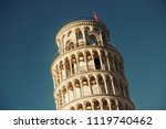 leaning tower closeup view in... | Shutterstock . vector #1119740462