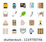 sauna equipment flat icons set. ... | Shutterstock .eps vector #1119750746
