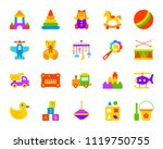 baby toy flat icons set. sign... | Shutterstock .eps vector #1119750755