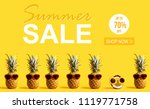 summer sale with pineapples and ...   Shutterstock . vector #1119771758